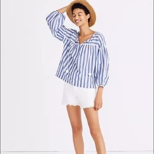 Madewell peasant top in Shea stripe sz Extra Small